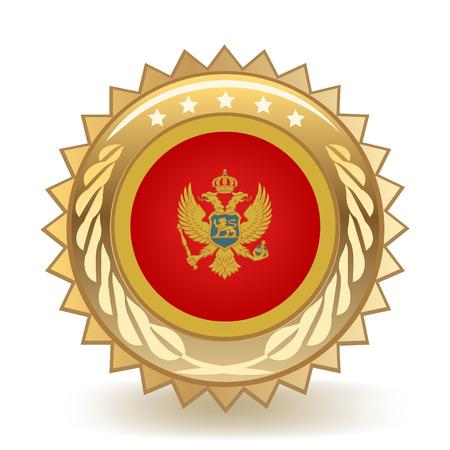 Flag Of Montenegro Gold Badge isolated on plain background.