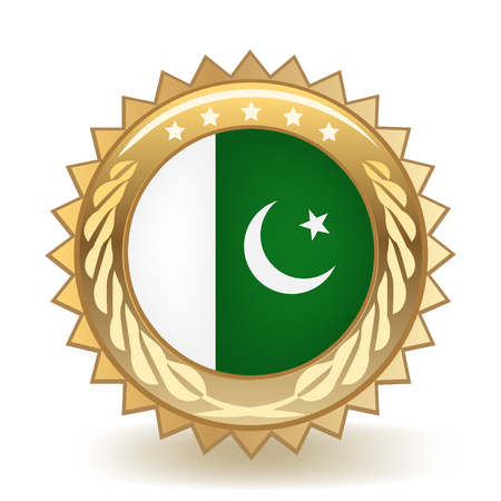Flag Of Pakistan Gold Badge Illustration