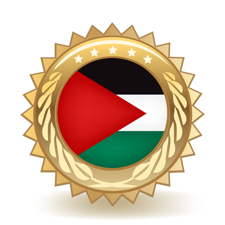 Flag Of Palestine Gold Badge Illustration
