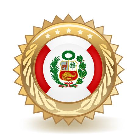 Flag Of Peru Gold Badge Foto de archivo - 98231191