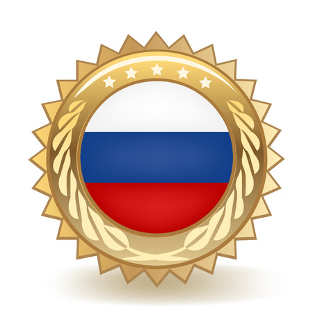 Flag Of Russia Gold Badge