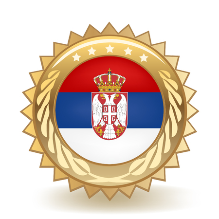 Flag Of Serbia Gold Badge