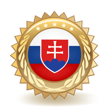 Flag Of Slovakia Gold Badge Vector illustration.  イラスト・ベクター素材