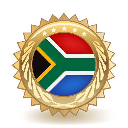 Flag of South Africa gold badge.