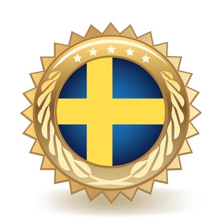 Flag Of Sweden Gold Badge Vector illustration. Illustration