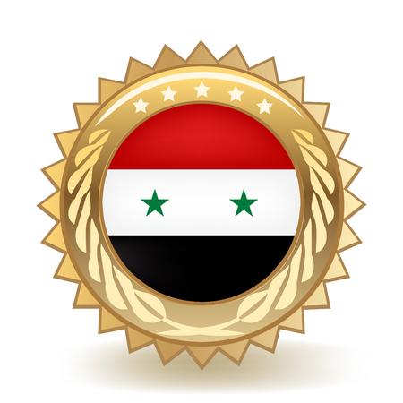 Flag of Syria gold badge. Ilustração