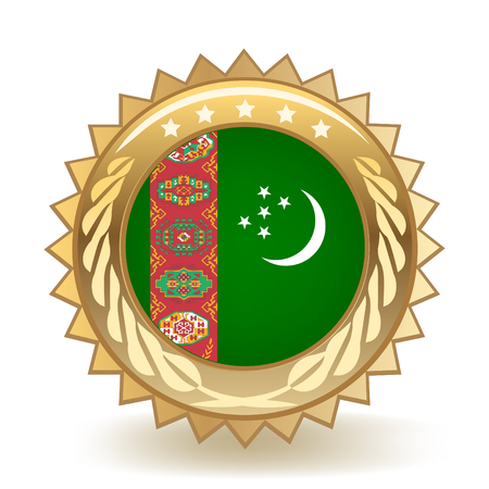 Flag of Turkmenistan gold badge.