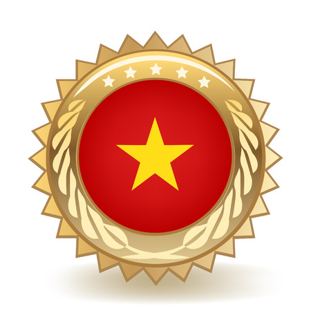 Flag Of Vietnam Gold Badge
