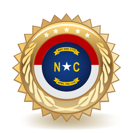 Gold badge with a blue, white and red design