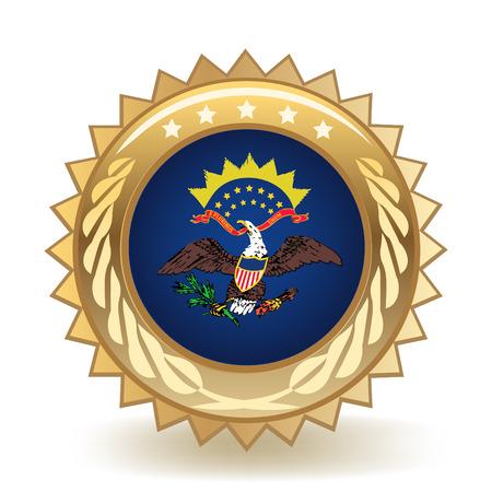State Of North Dakota Gold Badge  イラスト・ベクター素材