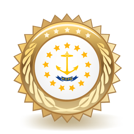 State Of Rhode Island Gold Badge  イラスト・ベクター素材