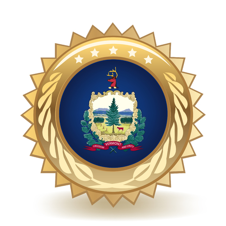 State Of Vermont Gold Badge Illustration