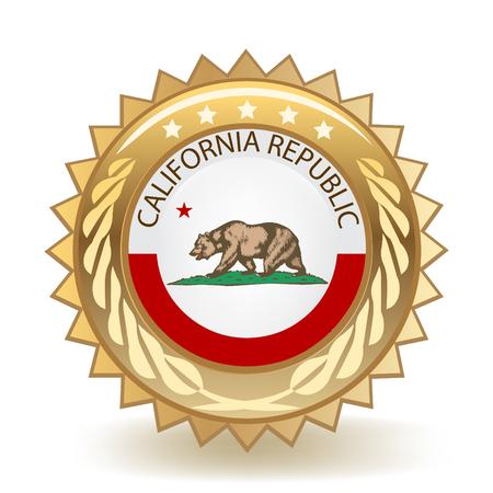カリフォルニア州ゴールドバッジ 写真素材 - 98412598