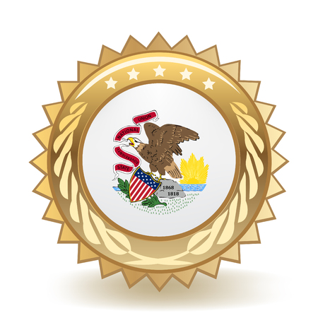 State Of Illinois Gold Badge  イラスト・ベクター素材