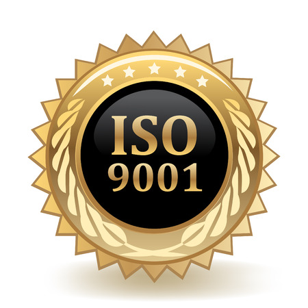 ISO Standard 9001 Gold Badge template design.
