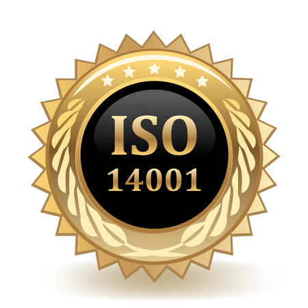 ISO Standard 14001 Gold Badge template design. Ilustrace