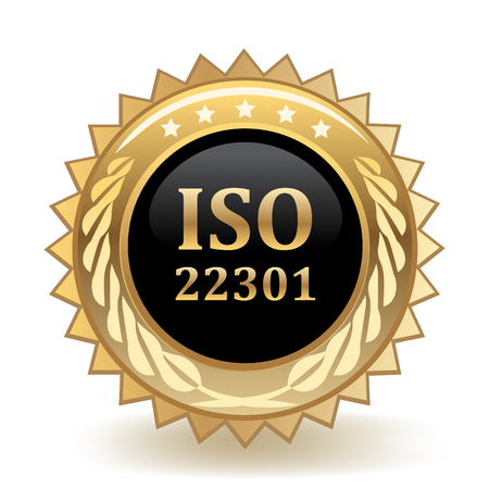 ISO Standard 22301 Gold Badge template design. Ilustrace