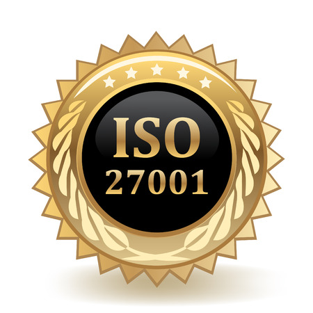 ISO Standard 27001 Gold Badge template design.