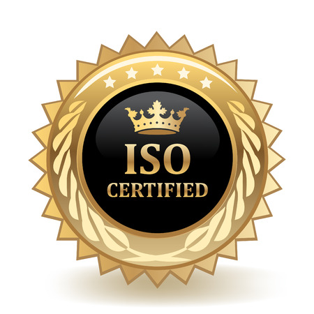 Certified ISO Standard Golden Badge template design. Çizim