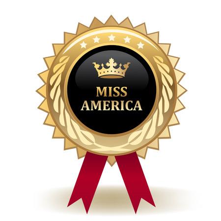 Miss America Golden Award Badge isolated on plain background. 向量圖像
