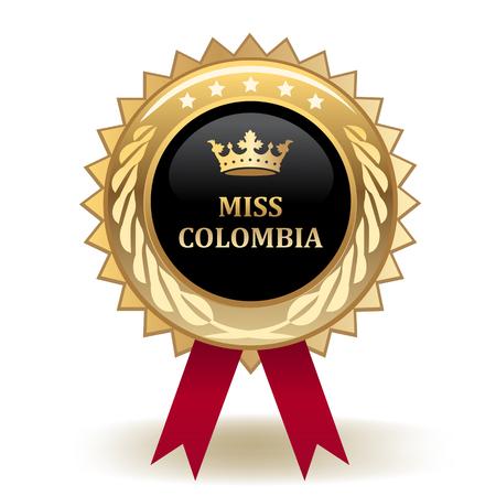 Miss Colombia Golden Award Badge Illustration