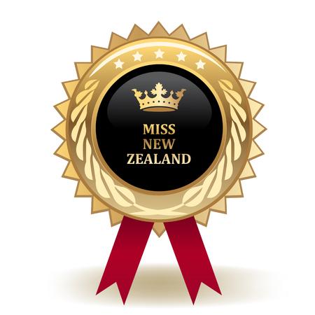 Miss New Zealand Golden Award Badge Ilustração