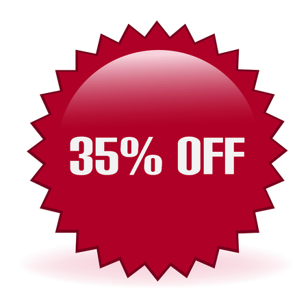 Thirty Five Percent Off Sticker isolated on plain background