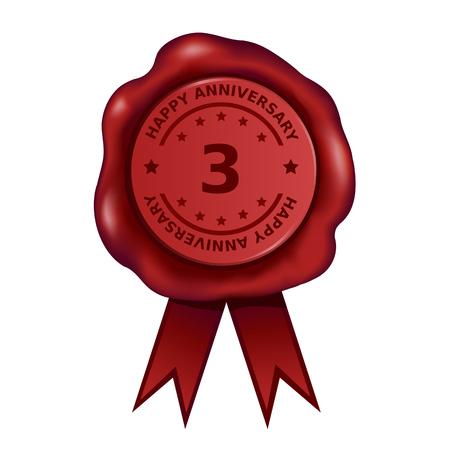 Three Year Anniversary Wax Seal  イラスト・ベクター素材