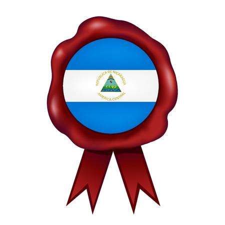 Flag Of Nicaragua Wax Seal Vector illustration.