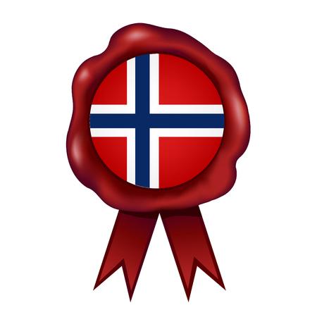 Flag Of Norway Wax Seal Vector illustration. Illustration