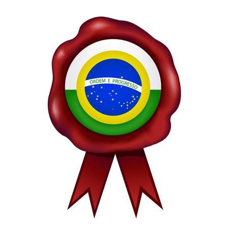 Flag Of Brazil Wax Seal Vector illustration. Illustration