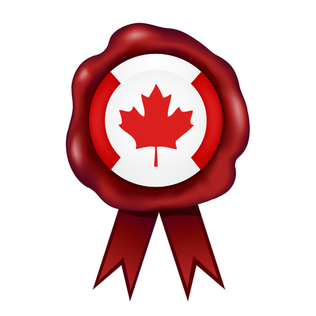 Flag Of Canada Wax Seal Vector illustration. 일러스트