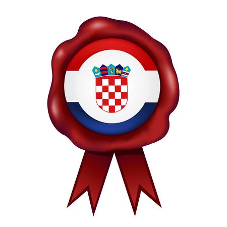 Flag Of Croatia Wax Seal Vector illustration.