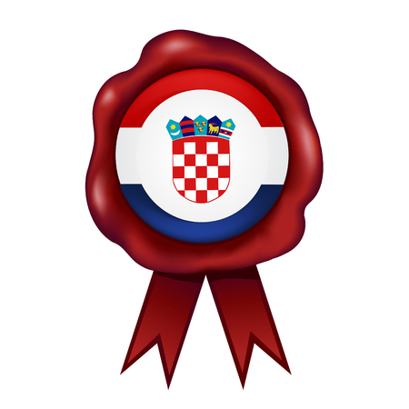Flag Of Croatia Wax Seal Vector illustration.