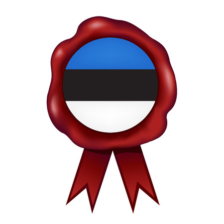 Flag Of Estonia Wax Seal Vector illustration. Illustration