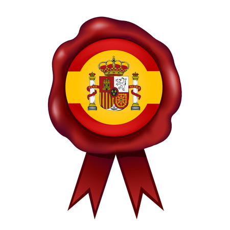 Flag Of Spain Wax Seal Vettoriali