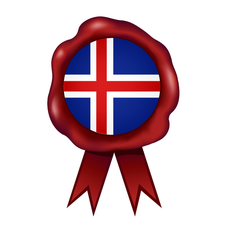 Flag Of Iceland Wax Seal Vector illustration.