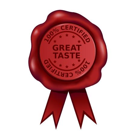 Sceau de cire certifié Great Taste à cent pour cent Vecteurs