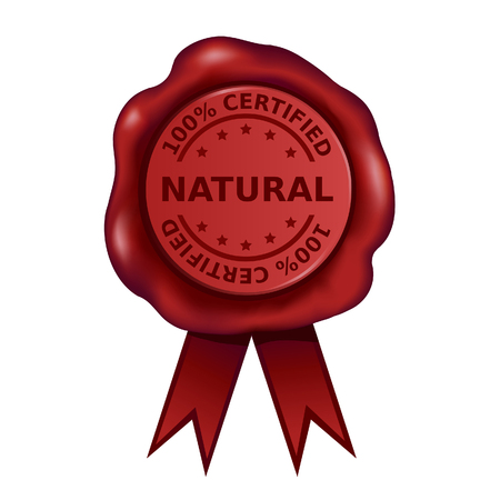 Hundred Percent Certified Natural Wax Seal Vector illustration.