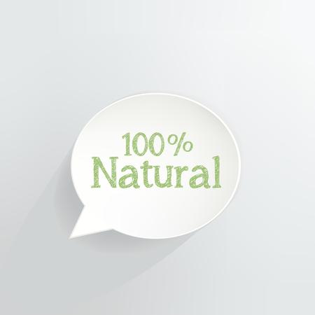 Hundred Percent Natural Speech Bubble Ilustrace