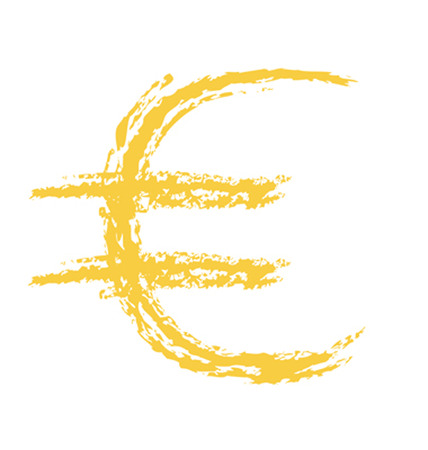 Hand Drawn Euro Currency Sign Ilustrace