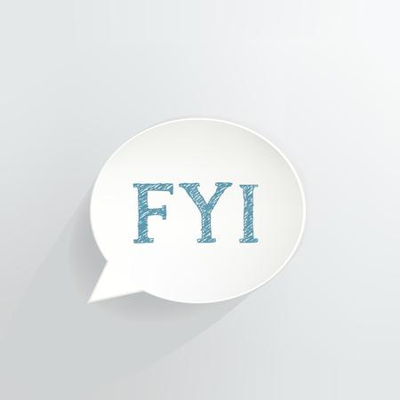 FYI Speech Bubble vector illustration design. Иллюстрация