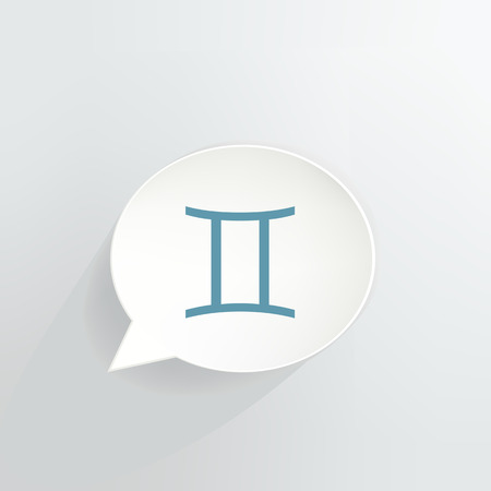 Gemini Zodiac Sign Speech Bubble vector illustration. 일러스트