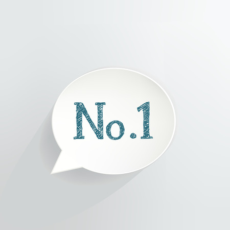 Number 1 text in a Speech Bubble vector illustration