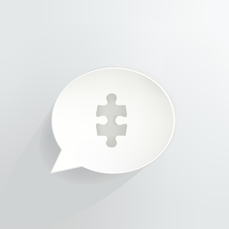 Jigsaw Puzzle Speech Bubble isolated on grey