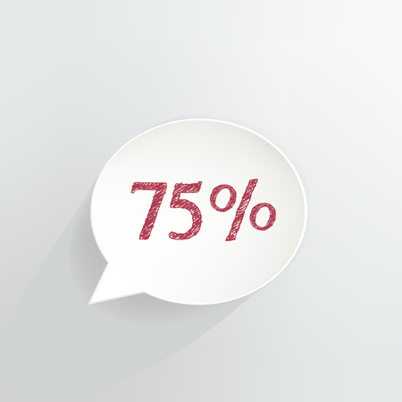 Seventy Five Percent Speech Bubble Ilustrace