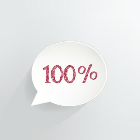 Hundred Percent Off Speech Bubble Ilustrace