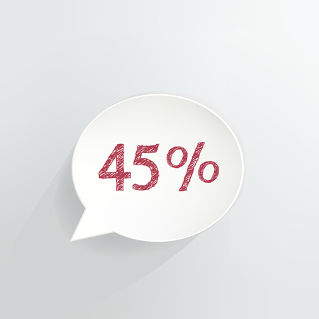 Forty Five Percent Off Speech Bubble vector illustration.