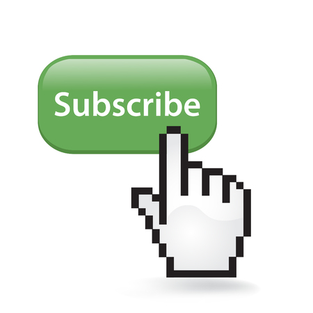 Subscribe Button Cursor with Hand illustration on white background. 向量圖像