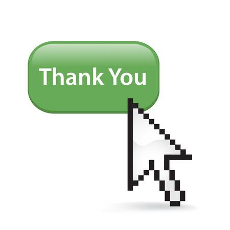 Thank you button cursor arrow. Ilustrace